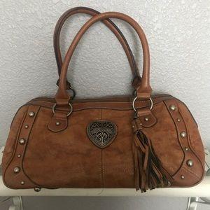 XOXO Camel Faux Leather Shoulder Bag